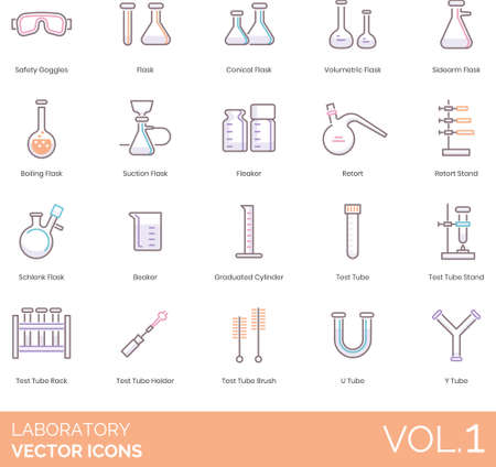 Line icons of laboratory instruments and equipment, scientific research Banco de Imagens - 150293027