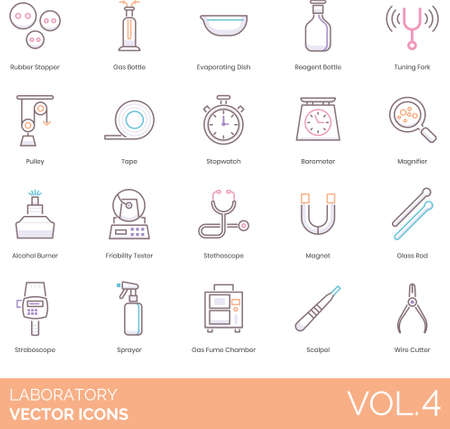 Line icons of laboratory instruments and device for research purpose