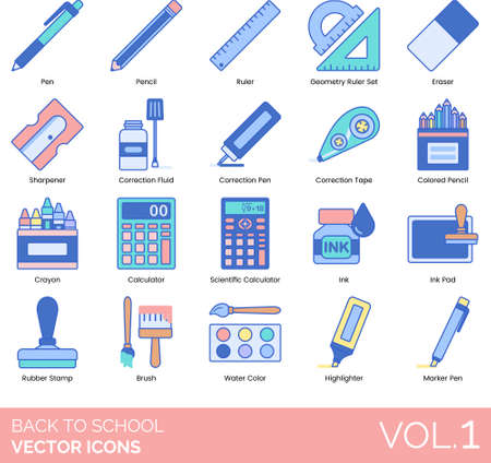Line icons of back to school, school and office stationery or supplies Иллюстрация