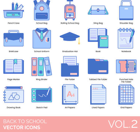 Line icons of back to school, stationery or supplies, book, bags, papers