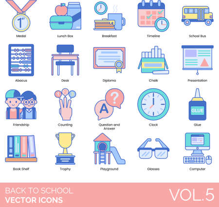 Line icons of back to school, lunch box, furniture, presentation, trophy