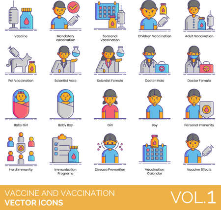 Line icons of vaccine and vaccination, immunization program, disease prevention Иллюстрация