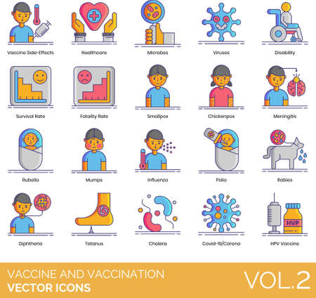 Line icons of vaccine and vaccination side effects, epidemic disease, survival rate
