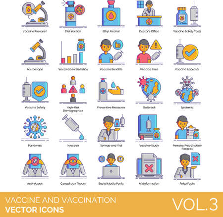 Line icons of vaccine and vaccination, preventive measure, pandemic, false facts Vectores