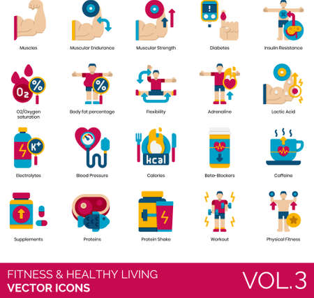 Flat icons of fitness and healthy living, muscular workout, diet, supplements Иллюстрация