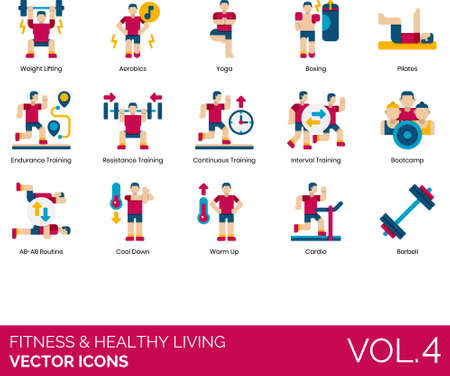 Flat icons of fitness and healthy living, sports, fitness training, cardio, bootcamp