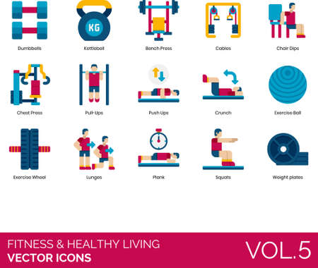Flat icons of fitness and healthy living, exercise, gym equipment