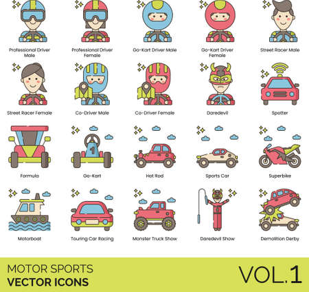Line icons of motor sports, competition, driver, vehicle, racing show