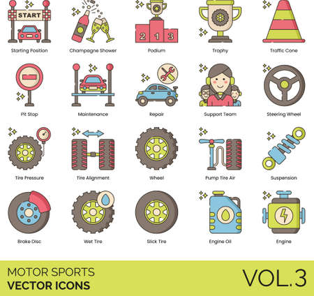 Line icons of motor sports, success, maintenance, spare part Illustration