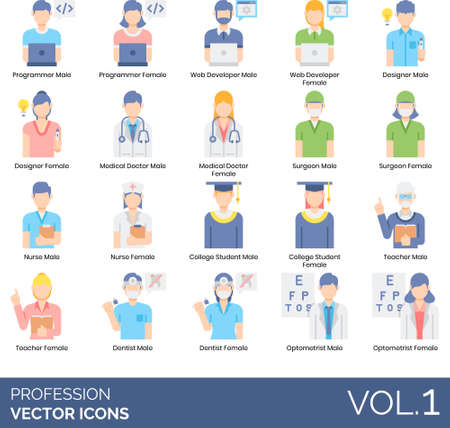 Flat icons of people and profession, occupation, user avatar, technology, healthcare, education