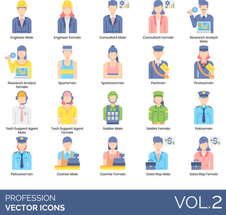 Flat icons of people and profession, occupation, user avatar, engineering, law enforcement, marketing