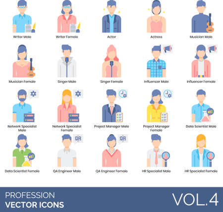 Flat icons of people and profession, career, user avatar, entertainer, technician, management