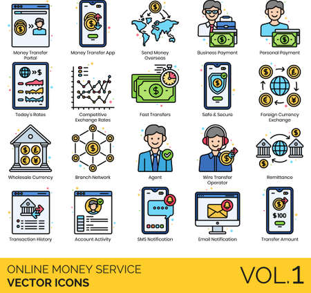 Line icons of online money service, payment, currency exchange
