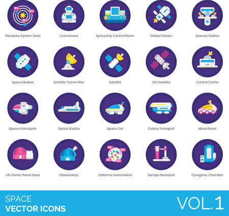 Flat icons of space and astronomy related, science technology, observation, expedition