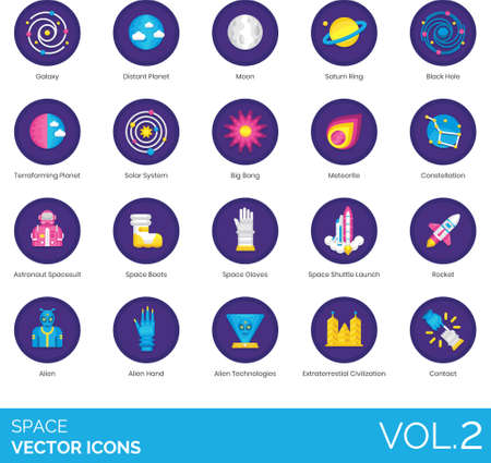 Flat icons of space and astronomy related, planets, phenomenon, alien, spacesuit
