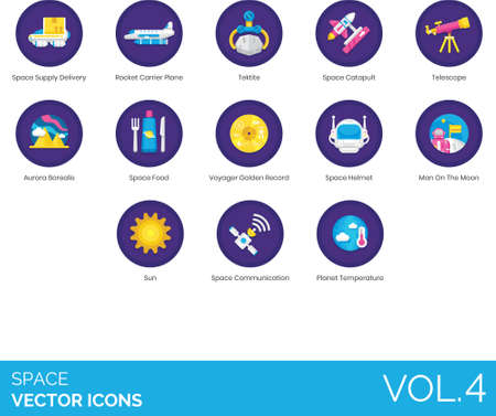 Flat icons of space and astronomy related, spaceship, space communication, sun