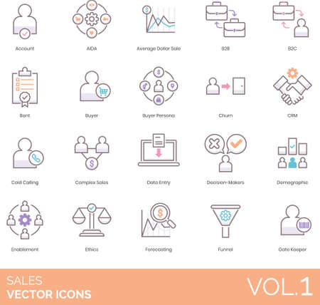 Line icons of sales, business strategy, demographic