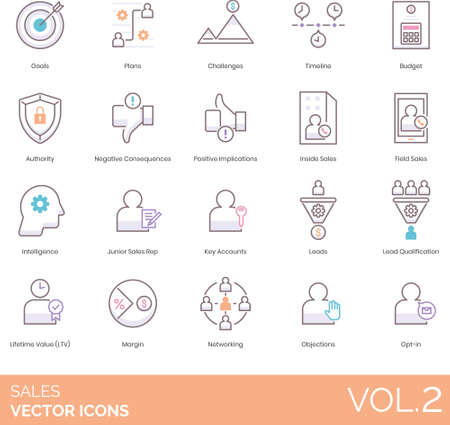 Line icons of sales, key accounts, business marketing, strategy