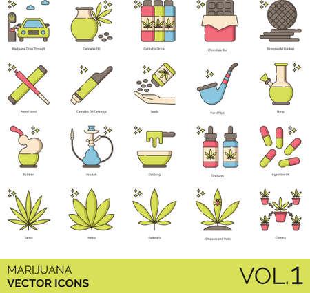 Line icons of marijuana or cannabis, smoking equipment, plants Çizim