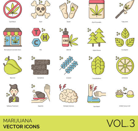 Line icons of marijuana or cannabis, store, CBD oil, disease treatment Illustration
