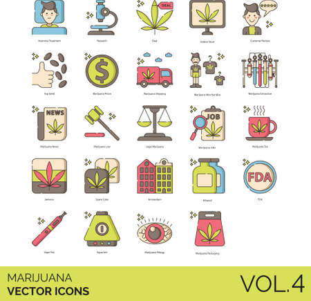 Line icons of marijuana or cannabis product, business, law and regulation Иллюстрация
