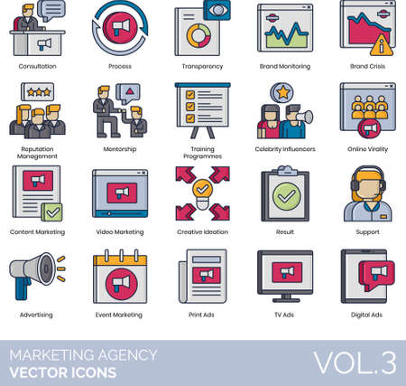 Line icons of marketing agency, content marketing, advertising, digital ads