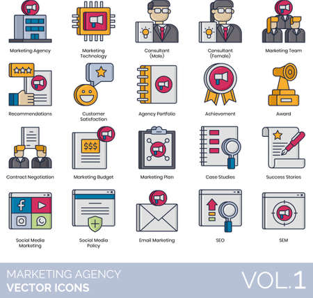 Line icons of marketing agency, technology, consultant, SEO, SEM Ilustração