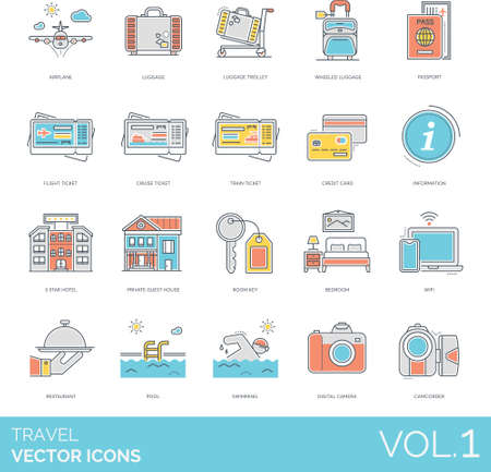 Line icons of travel and vacation, ticket,  accommodation facilities, camera