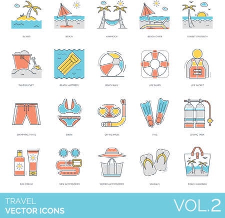 Line icons of travel and vacation, tropical summer holiday, swimming gear, fashion Ilustrace