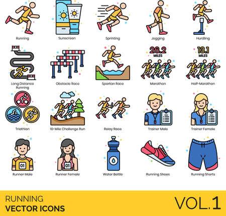 Line icons of running types, training, running gear