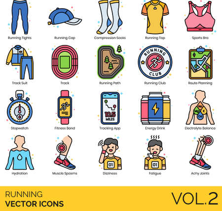 Line icons of running gear, accessories, running fatigue