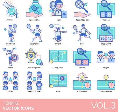 Line icons of tennis rules, points, techniques