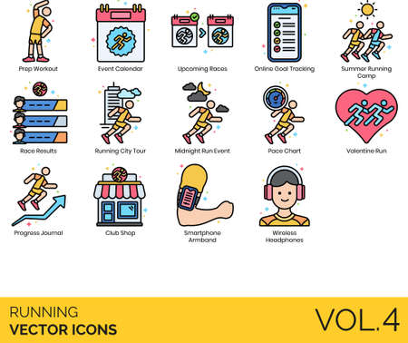 Line icons of running events, races, tracking app, accessories  イラスト・ベクター素材