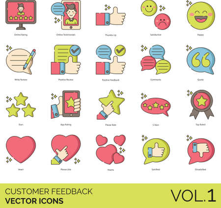 Line icons of customer feedback and survey, testimonials, review, service