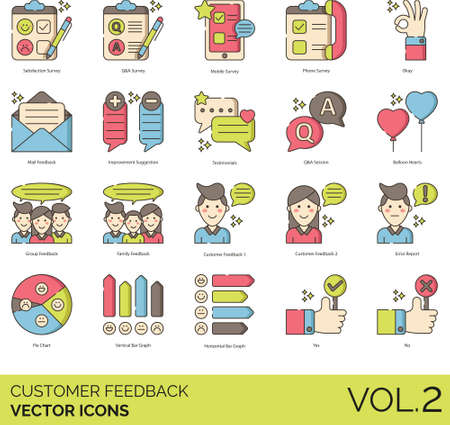 Line icons of customer feedback, satisfaction survey, statistics
