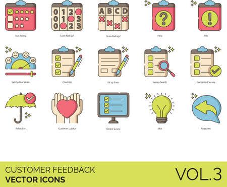 Line icons of customer feedback, ratings, experience, online survey, response
