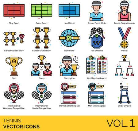 Line icons of tennis court, award, international competition Illusztráció