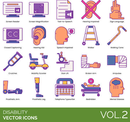 Line icons of disability facilities, aids, equipment, mental disease