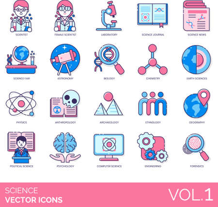 Line icons of science and technology, category of science study, laboratory, discovery, scientist Illusztráció