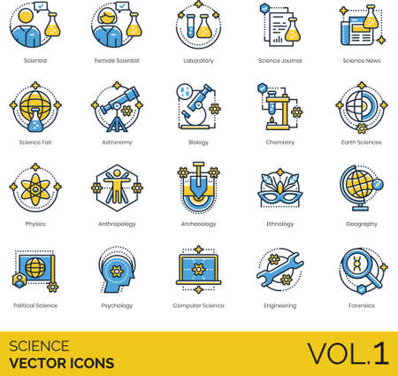 Line icons of science and technology, category of science study, scientist, research Illusztráció