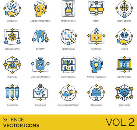 Line icons of science and technology, category of science study, bioengineering, pharmacy