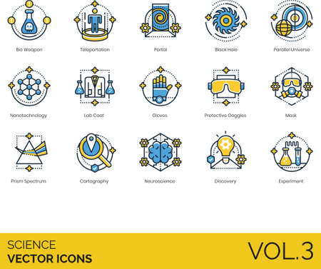 Line icons of science and technology, futuristic, lab equipment, experiment Vektorgrafik