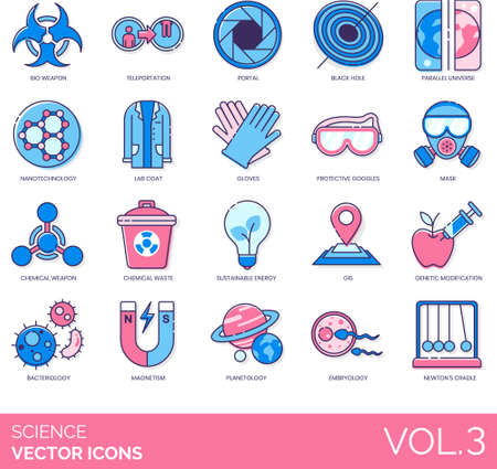 Line icons of science and technology, lab equipment, bioweapon, bacteriology Ilustração