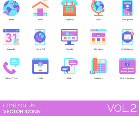 Flat icons of contact us and customer service, communication devices, technology