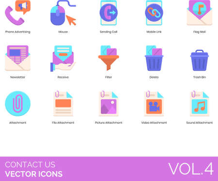 Flat icons of contact us and customer service, call, email attachment, link