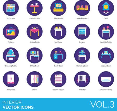 Flat icons of interior design, furniture, home decor