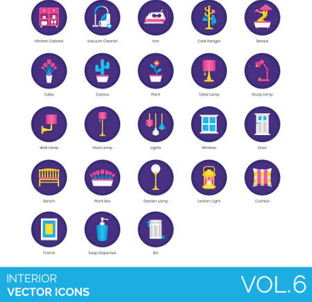 Flat icons of interior design, plants, lightings, electronics, decoration, household goods
