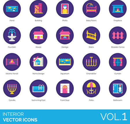 Flat icons of interior design and home decoration, indoor, outdoor Vettoriali