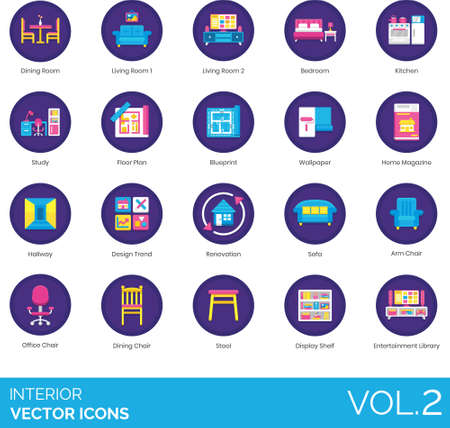 Flat icons of interior design, room, furniture, house renovation Vectores