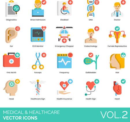 Flat icons of medical and healthcare, diagnostics, device, human internal organs, service Ilustração